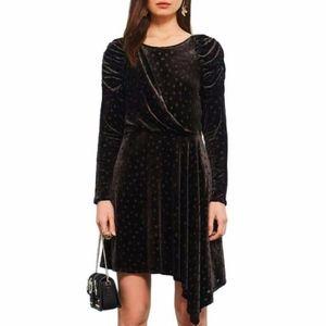 Topshop Black Long Sleeve Polka Dot Velvet Dress